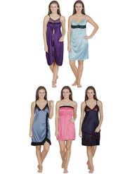 Set of 5 Klamotten Solid Satin Nightwear-36H-41J