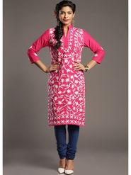 Lavennder Printed Cotton Pink Kurti _623636