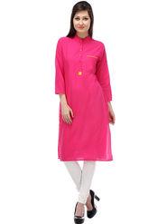 Lavennder Plain Cotton Pink Kurti _623688