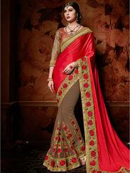 Indian Women Embroidered Satin Red & Brown Designer Saree-Ht71100