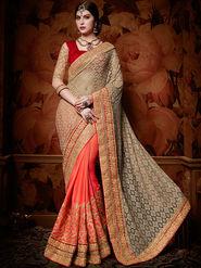 Indian Women Embroidered Silk Multicolor Designer Saree-Ht71103