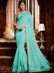 Indian Women Embroidered Satin Cyan Designer Saree-Ht71105