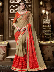 Indian Women Embroidered Silk Gold & Orange Designer Saree-Ht71112