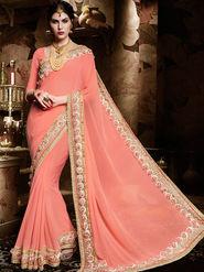 Indian Women Embroidered Georgette Pink Designer Saree-Ht71113