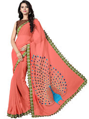 Styles Closet Embroidered Georgette  Peach Saree -Bnd-8307
