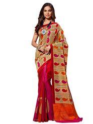 Shonaya Printed Pink & Red Bhagalpuri Art Silk Saree AD-SGCTS-3027