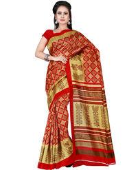 Shonaya Printed Bhagalpuri Art Silk Red & Beige Saree -Adbhp-545-A