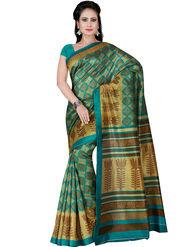 Shonaya Printed Bhagalpuri Art Silk Green & Beige Saree -Adbhp-545-B