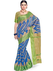 Admyrin Printed Chanderi Blue Saree -Snh11-10235