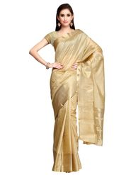 Golden Tussar Silk Zari Work Saree with Blouse Piece_ADM-SR-SNH3-10090