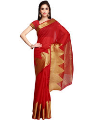 Admyrin Printed Chanderi Red Saree -Snh3-10095
