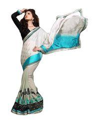 Khushali Fashion Embroidered Georgette Half & Half Saree_KF07
