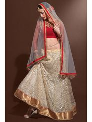 Cream Net Lehenga with Embroidered Choli and Net Dupatta_AY-LH-SWR-10008