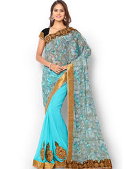 Admyrin Embroidered Printed Georgette and Chiffon Saree -ab06