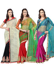 Pack of 3 Admyrin Printed Georgette Net & Bhagalpuri Silk Saree -CMB1