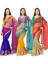 Pack of 3 Admyrin Printed Georgette Net & Bhagalpuri Silk Saree -CMB9