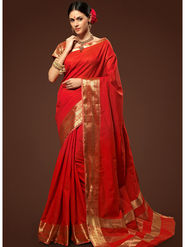 Admyrin Plain Chanderi Cotton Red Saree-HKT-20002