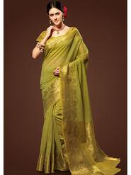Admyrin Plain Chanderi Cotton Olive Saree-HKT-20005