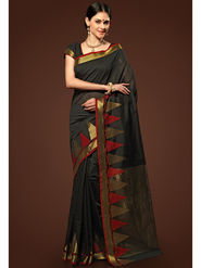 Admyrin Plain Chanderi Cotton Black Saree-HKT-20007
