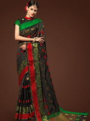 Admyrin Plain Chanderi Cotton Black Saree-HKT-20008