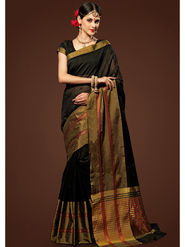 Admyrin Plain Chanderi Cotton Black Saree-HKT-20009