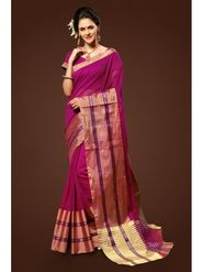 Admyrin Plain Chanderi Cotton Magenta Saree-HKT-20015