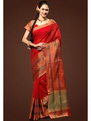 Admyrin Plain Chanderi Cotton Red Saree-HKT-20020