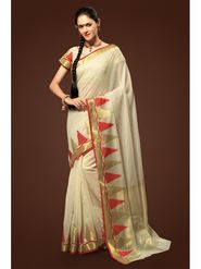 Admyrin Plain Chanderi Cotton Cream Saree-HKT-20022