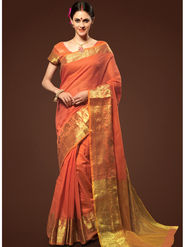 Admyrin Plain Chanderi Cotton Salmon Orange Saree-HKT-20024