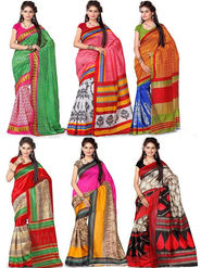 Pack of 6 Printed Bhagalpuri Artsilk Saree-ad35
