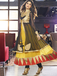 Adah Fashions  Georgette Embroidered Semi Stitched Salwar Kameez - Black & Yellow - 501-6009