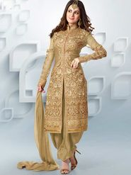 Adah Fashions Net Embroidered Semi Stitched Suit - Beige