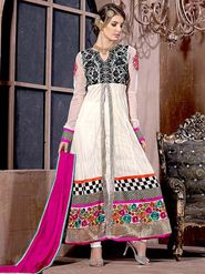 Adah Fashions Soft Net Embroidered Anarkali Suit - Off White - 695-1704