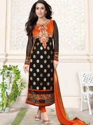 Adah Fashions Georgette Embroidered Semi Stitched Suit - Black - 716-5109E