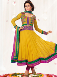 Adah Fashions Embroidered Georgette Semi-Stitched Suit - Yellow-359-5204