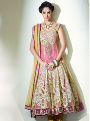 Adah Fashions Net Embroidered Semi Stitched Salwar Kameez - Pink & Green