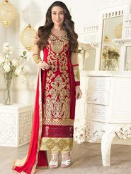 Adah Fashions Faux Georgette Embroidered Semi Stitched A-Line Dress Material - Red_613-5103
