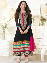 Adah Fashions Faux Georgette Embroidered Semi Stitched A-Line Dress Material - Black_613-5105