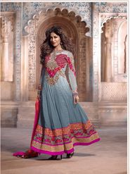 Adah Fashions Georgette Semi Stiched Salwar Kameez - Grey - 510-7608