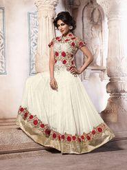 Adah Fashions Georgette Semi Stiched Salwar Kameez - Off White