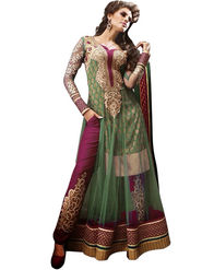 Adah Fashions Georgette Embroidered Semi Stitched Designer Suit - Green