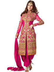 Adah Fashions Georgette Embroidered Semi Stitched Designer Suit - Pink