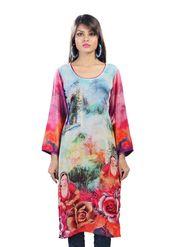Admyrin Crepe  Printed Kurti - Multicolor - 1249