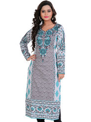 Admyrin Georgette Printed Kurti - Grey and Off-white