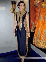 Arisha Silk Embroidered Semi-Stitched Anarkali Suit - Navy Blue