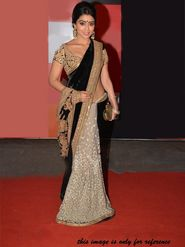 Arisha Net Embroidered Saree - Black And Beige