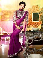 Arisha Georgette Embroidered Saree - Purple