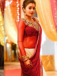 Arisha Net Embroidered Saree - Red - 203