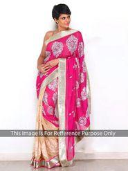 Arisha Georgette Embroidered Saree - Pink