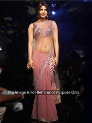 Arisha Net Embroidered Saree - Pink - 389